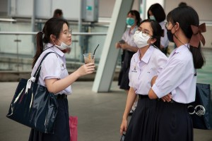 Scoolgirls during the COVID-19 coronavirus outbreak in Thailand