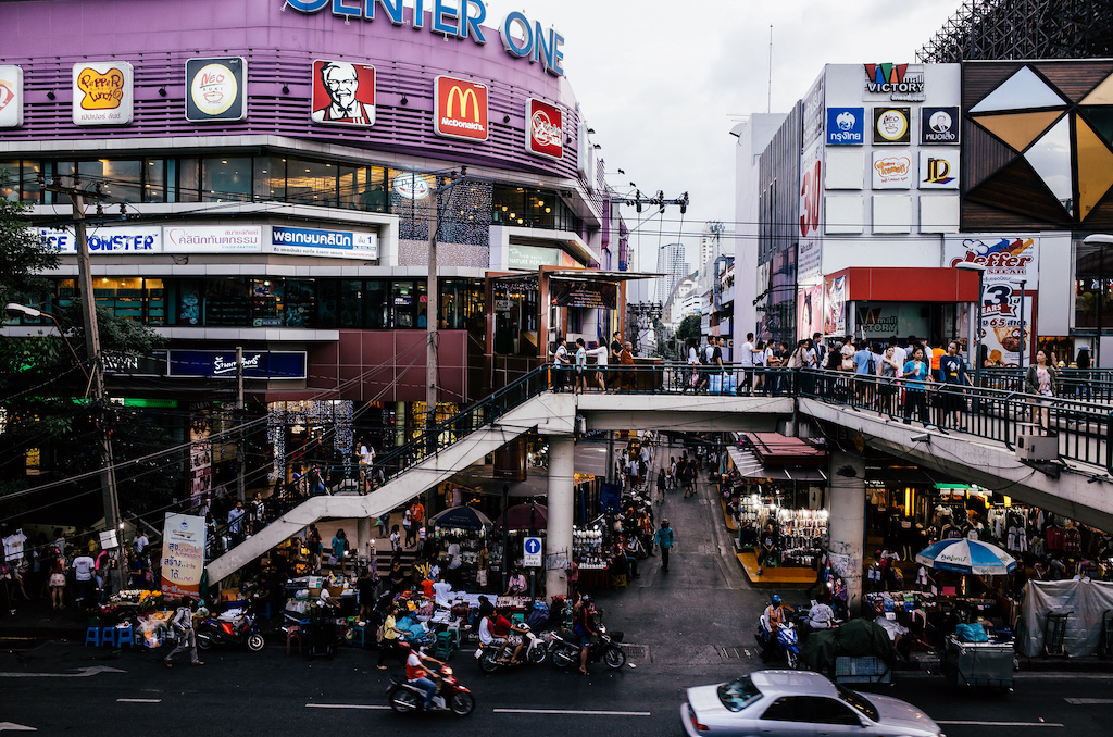 Crowded shopping malls and street markets in Ratchathewi District