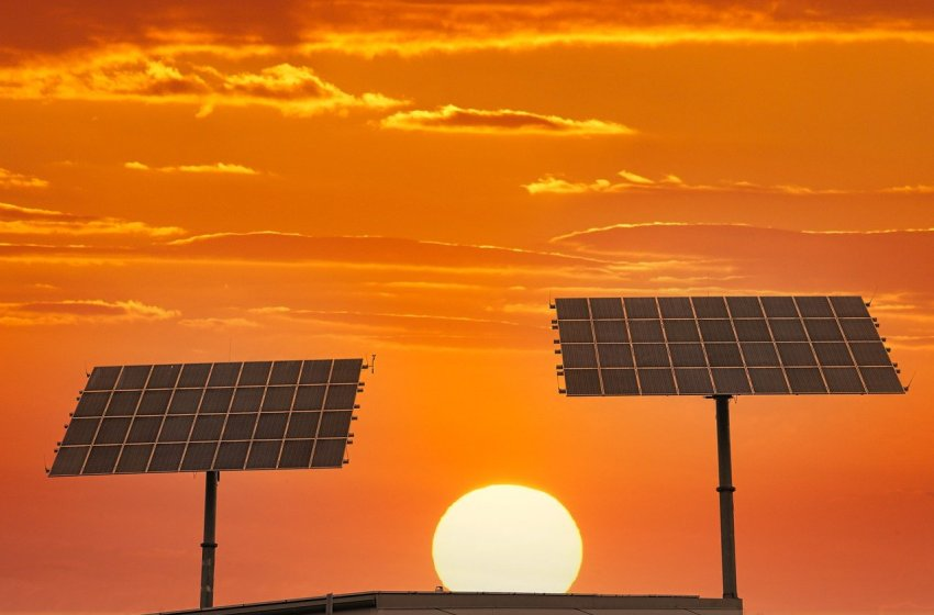 Solar photovoltaic panels at sunset