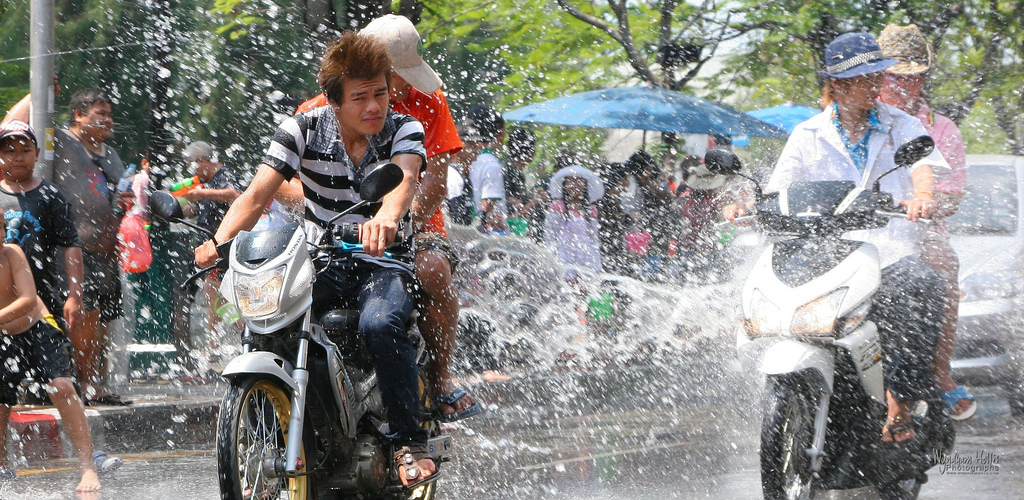 Motorcycles during the Songkran festival (Thai New Year)