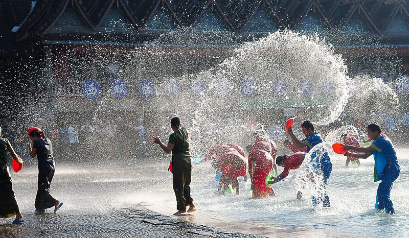 Water fights during the Songkran