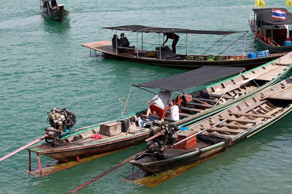 Long tail boats in Surat Thani