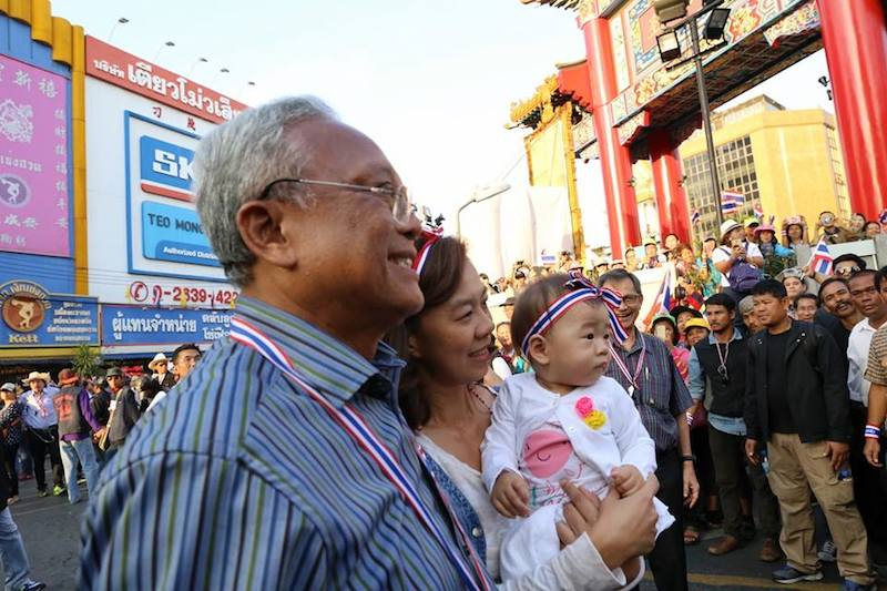 Suthep with some followers during the anti-Yingluck Shinawatra protests in Bangkok