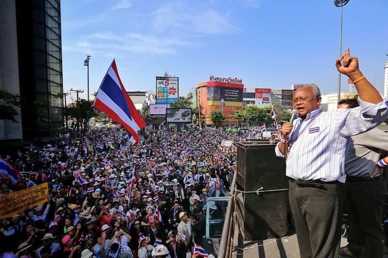 Suthep Thaugsuban speaking on a meeting during Bangkok Shutdown