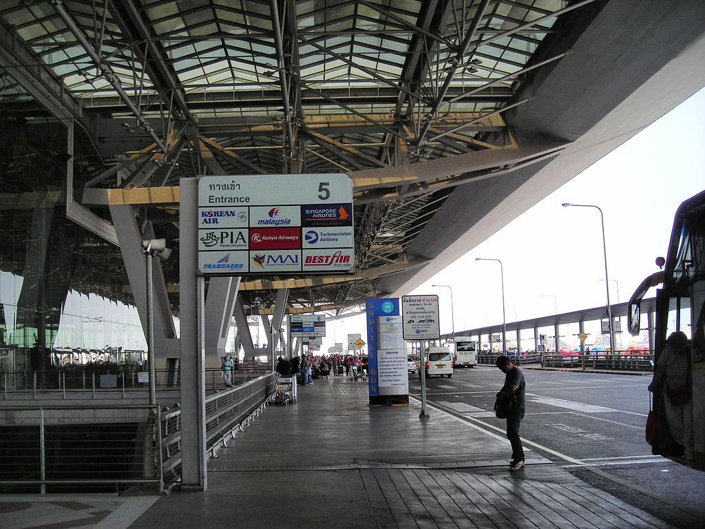 Departures Entrance 5 at Suvarnabhumi International Airport, Bangkok