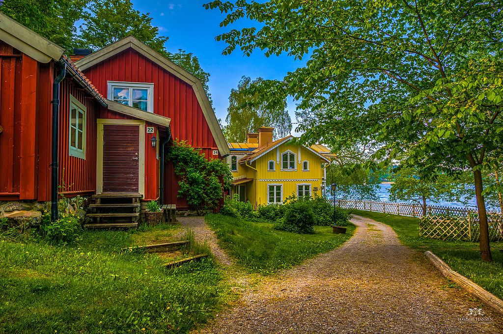 Houses near the sea in Sweden