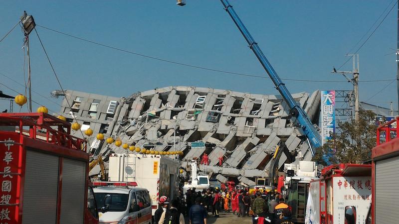 Weiguan Jinlong residential building after an earthquake in Taiwan