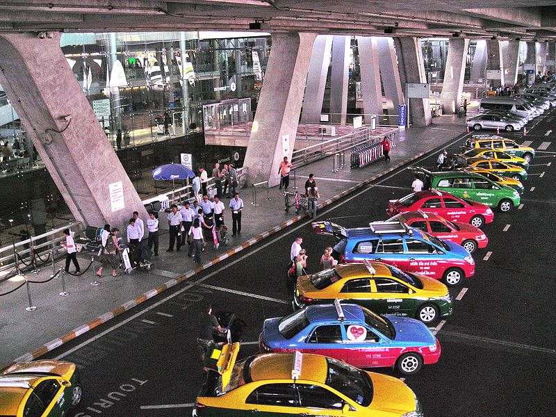Main Taxi stand of Suvarnabhumi Airport in Bangkok
