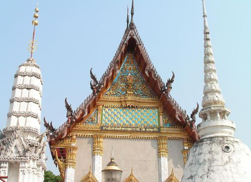 Roof architecture within a Thai Buddhist temple