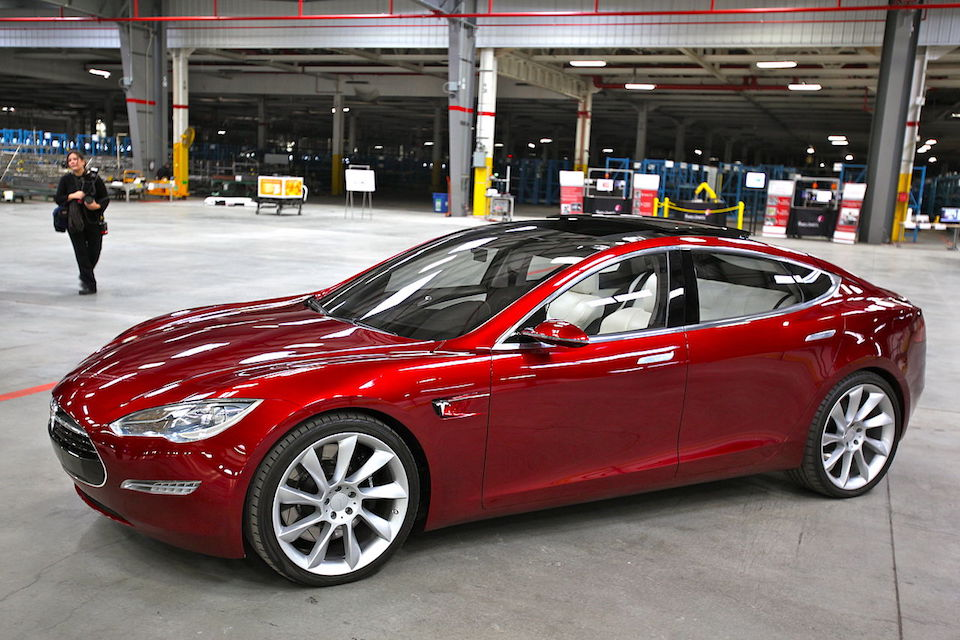 Tesla Model S electric car indoors