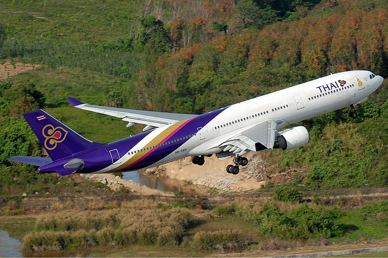 Thai Airways Airbus A330-300 after taking off