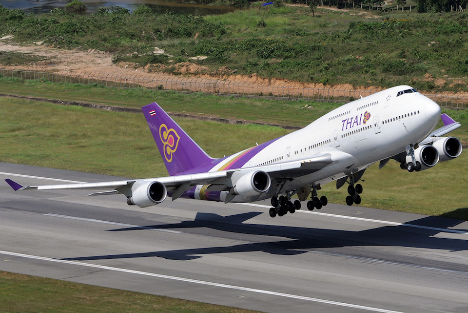Thai Airways International Boeing 747-400 taking off from Phuket International Airport