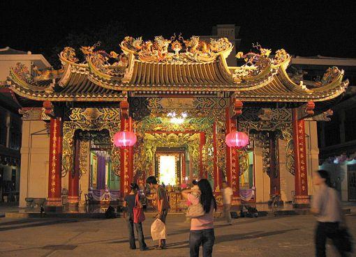 Guan Yin Shrine Thien Fah Foundation in Bangkok at night during Chinese New Year
