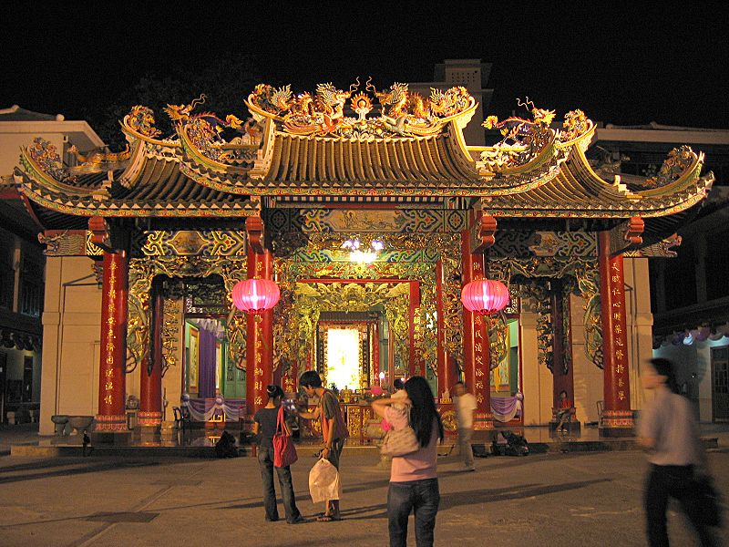 Guan Yin Shrine Thien Fah Foundation in Bangkok at night during Chinese New Year