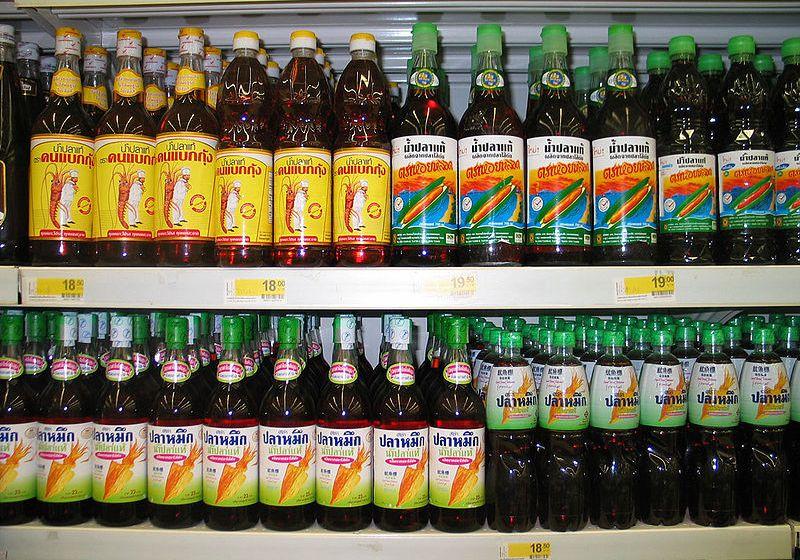 Thai fish sauce in a supermarket