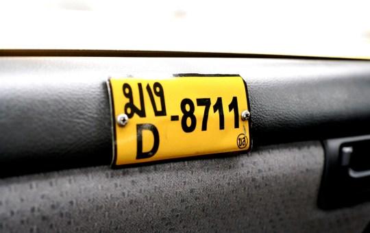 A Thai taxi license plate