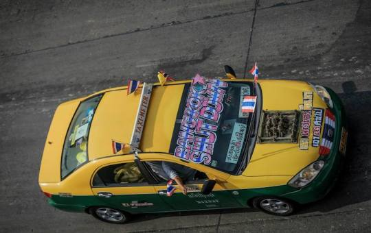 Taxi at Bangkok Shutdown protest