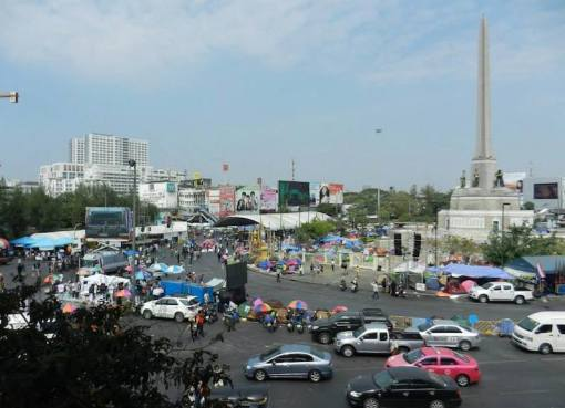 Protesters at the Victory Monument in Bangkok