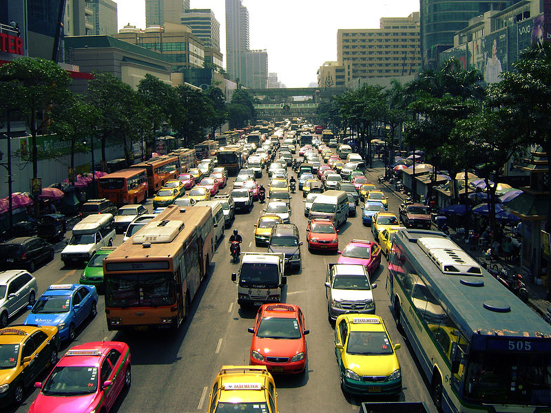 Traffic jam in Ratchadamri, Bangkok