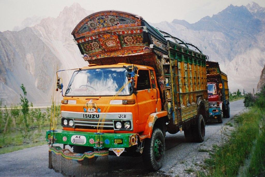 Jingle trucks on Karakoram Highway, Pakistan