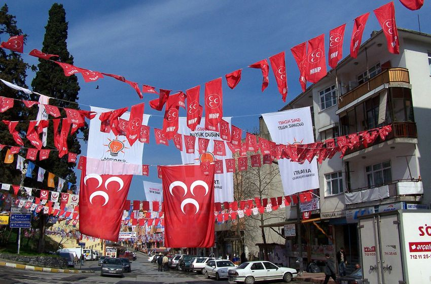 Flags of political parties before the Turkish elections in Şile, Turkey
