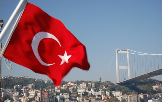 Bosphorus Bridge and the Turkish flag