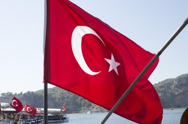 Turkish national flag waving on a ship