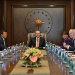 President of Turkey Recep Tayyip Erdogan attending a meeting