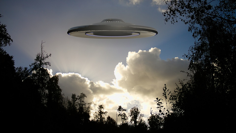 UFO flying over a forest