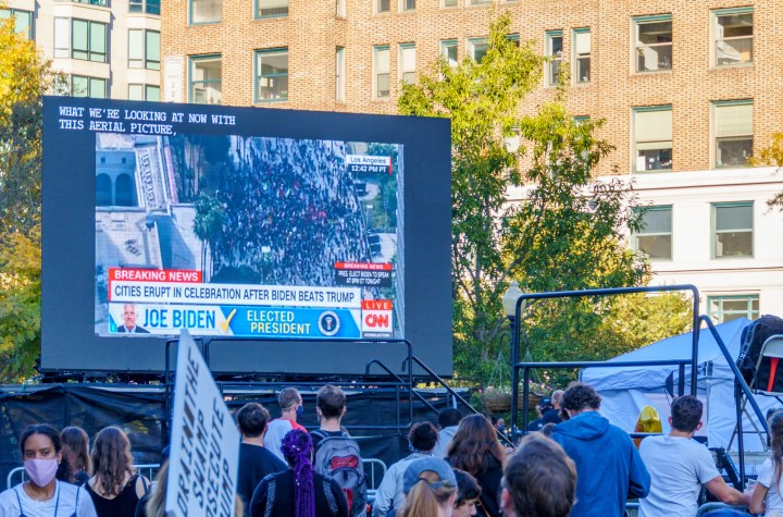 US Election 2020: Demonstrators watching Election results on a big screen