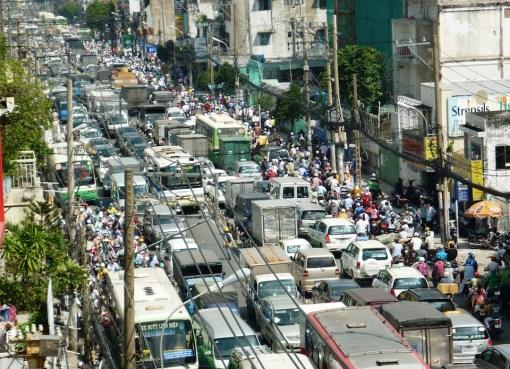 Traffic jam on Phan Dang Luu street