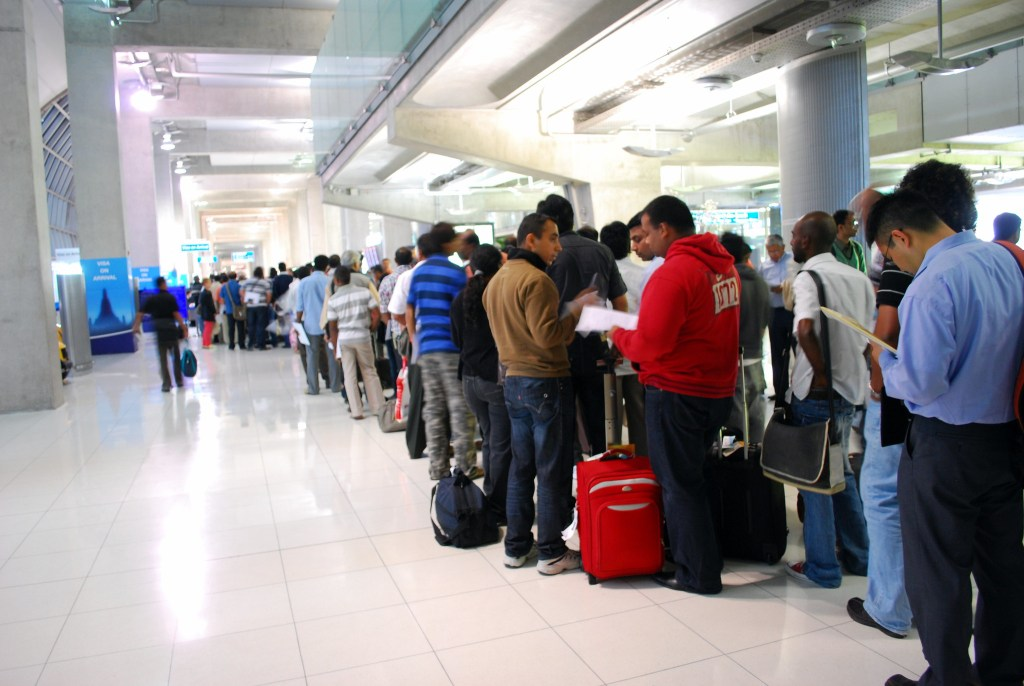 Visa on arrival's queue at Suvarnabhumi Airport in Bangkok