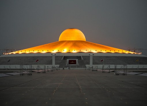 The Chedi of Wat Phra Dhammakaya at night