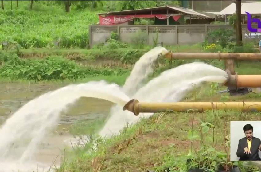Water pumping near Tham Luang cave in Chiang Rai