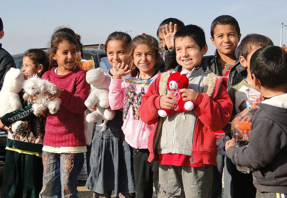 Yazidi children. Defend International and its supporters provided humanitarian aid to Yazidi refugees in Kurdistan region, Iraq