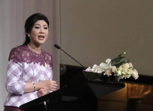 Yingluck Shinawatra during a briefing