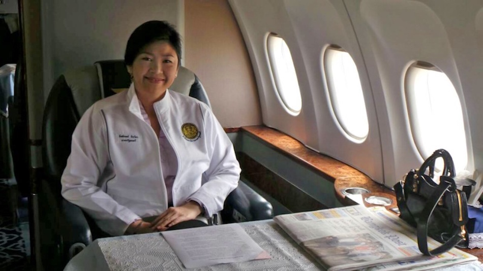 Yingluck Shinawatra inside the Thailand Government's aircraft