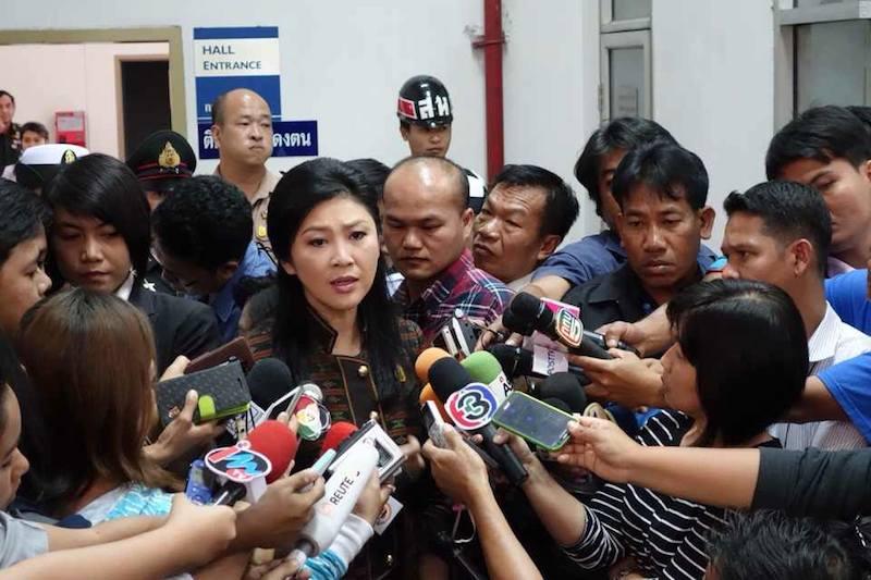 Yingluck Shinawatra during a press briefing