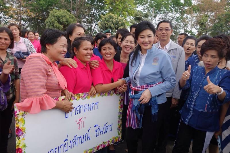 Yingluck Shinawatra greeting supporters