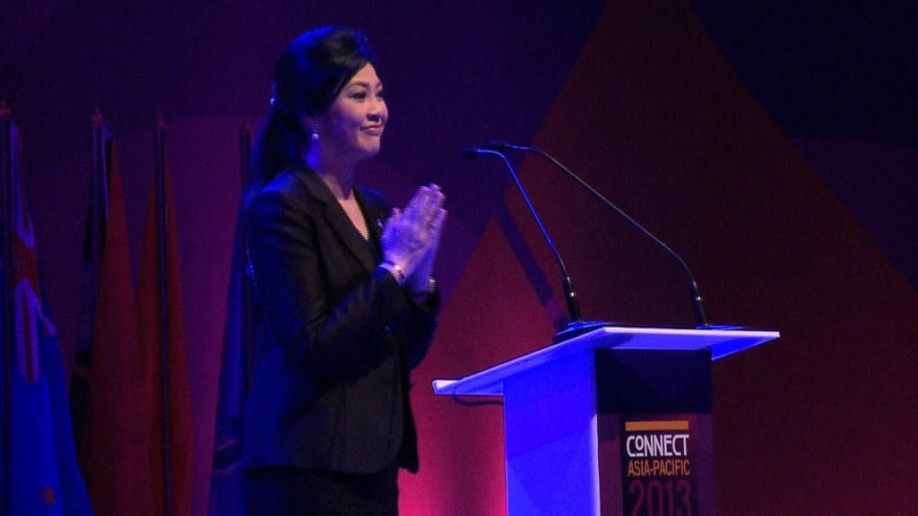 Former Thai Prime Minister Yingluck Shinawatra during a conference