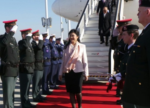 Yingluck Shinawatra during a visit