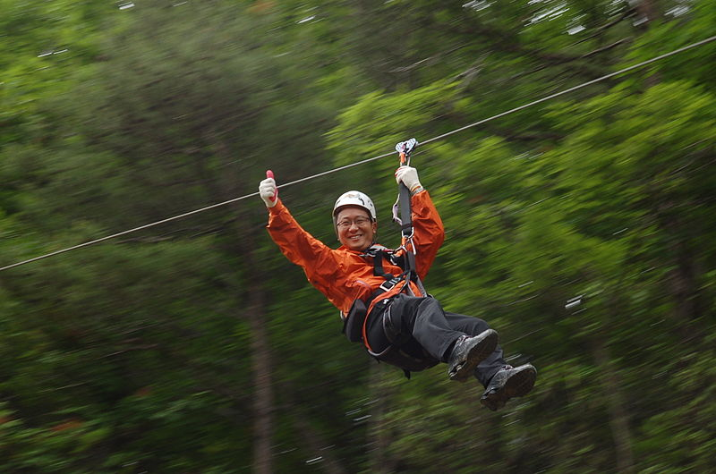 South Korean tourist on a zipline