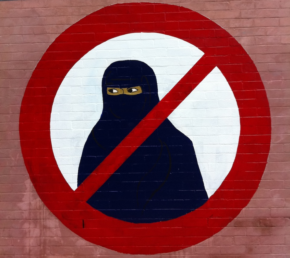 Ban the Burqa anti Islamic veil graffiti on the corner of Gladstone Street and Station Street, Newtown