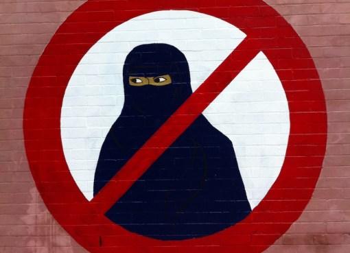 Ban the Burqa anti Islamic veil graffiti on the corner of Gladstone Street and Station Street, Newtown