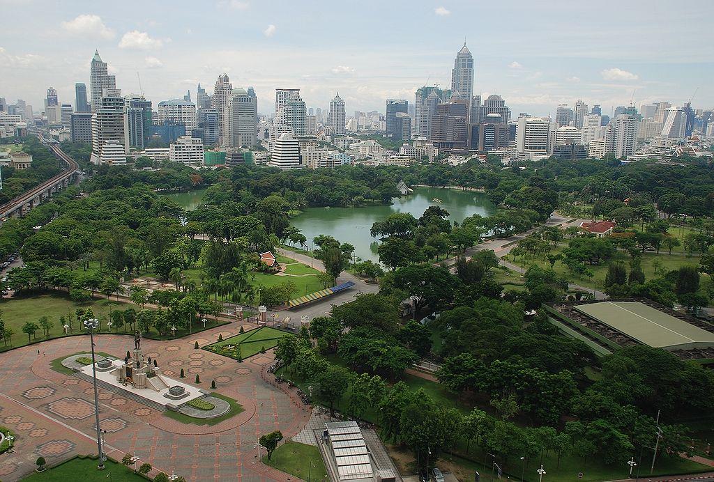 Aerial view of Lumphini Park, Bangkok