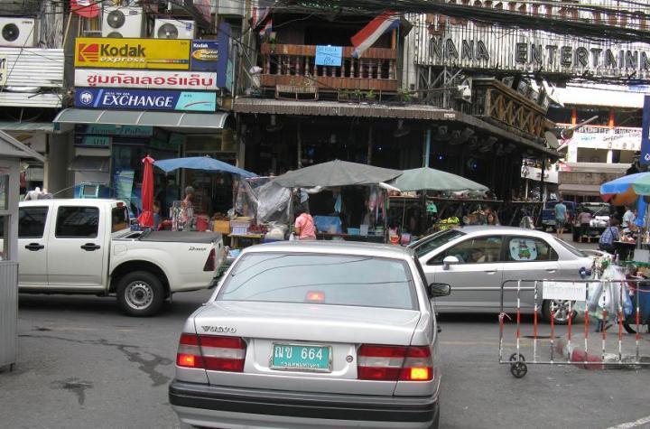 Traffic and market at Nana district in Bangkok