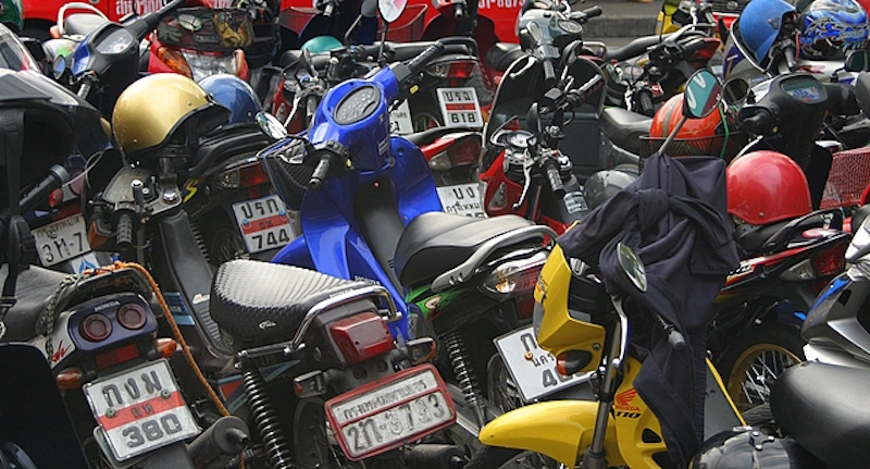 Parked motorcycles in Bangkok
