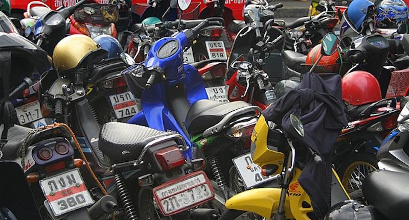 Parked motorcycles in Bangkok