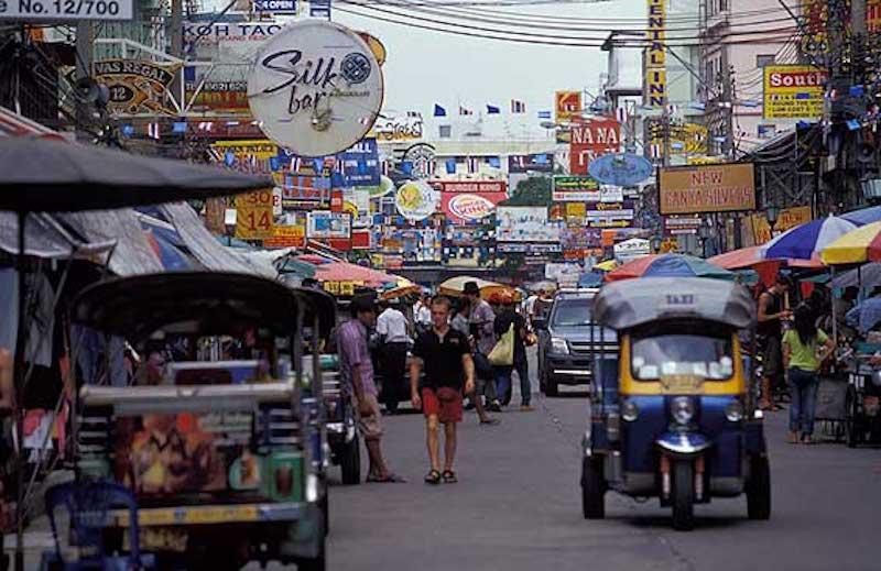 The popular Khao San Rd in Bangkok
