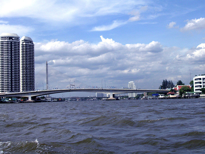 The Chao Phraya River and the Rama VIII Bridge